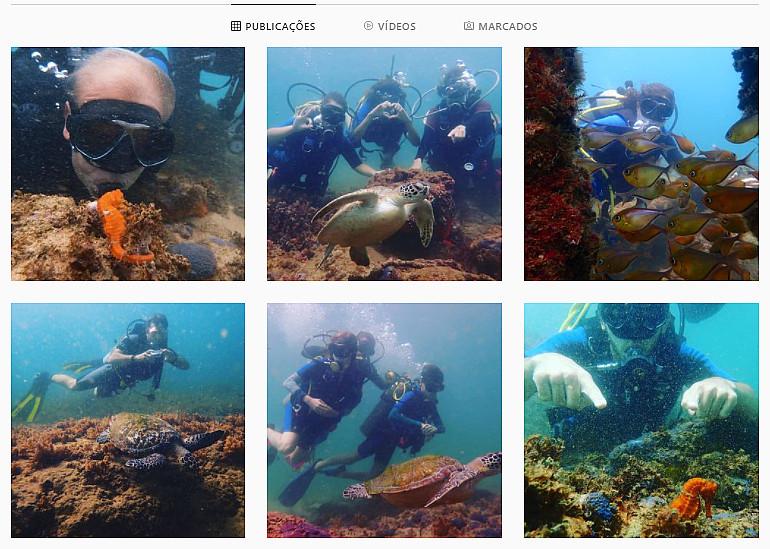 fotos e vídeos de mergulho no instagram
